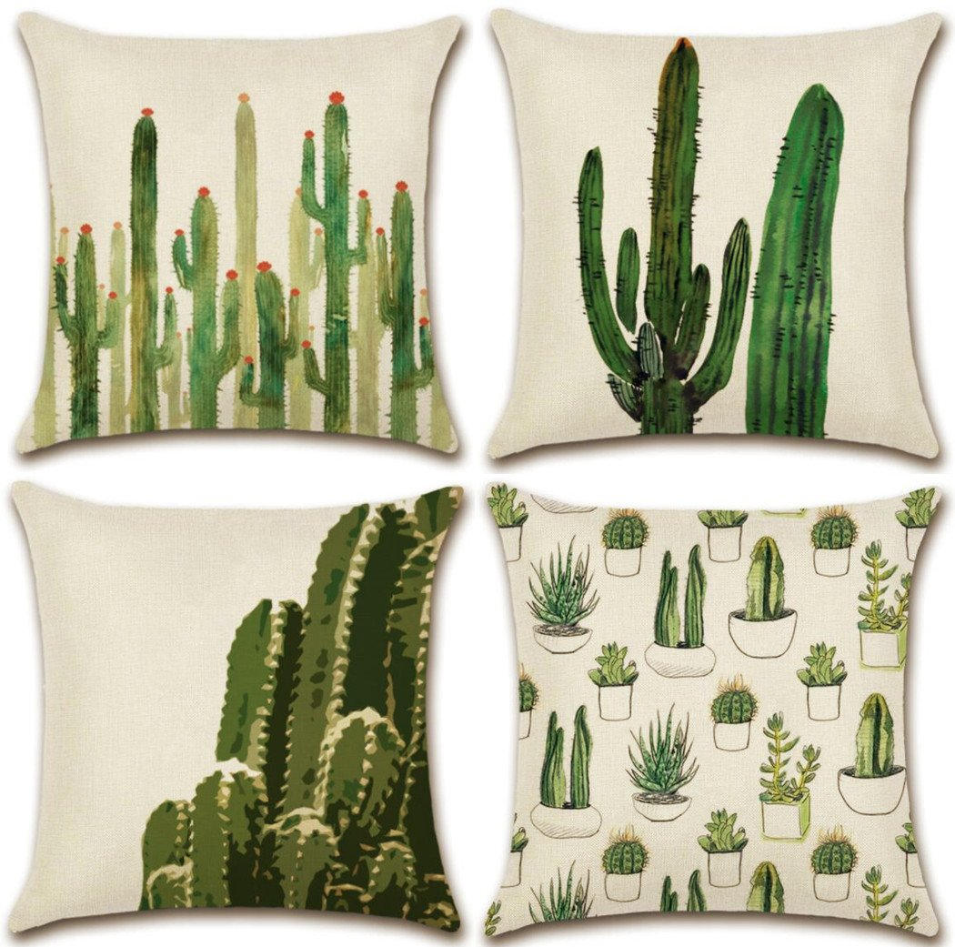 Hixixi 4-Pack Cactus Cushion Cover Throw Pillow Case Cotton Linen Pillowcases Room Decorative (Cactus-A)