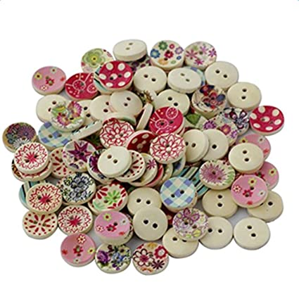 25 Pieces by iWorldApparel iWorldApparel BUT-0169 Heart Shaped Painted 2 Hole Wooden Buttons 20mm x 22mm