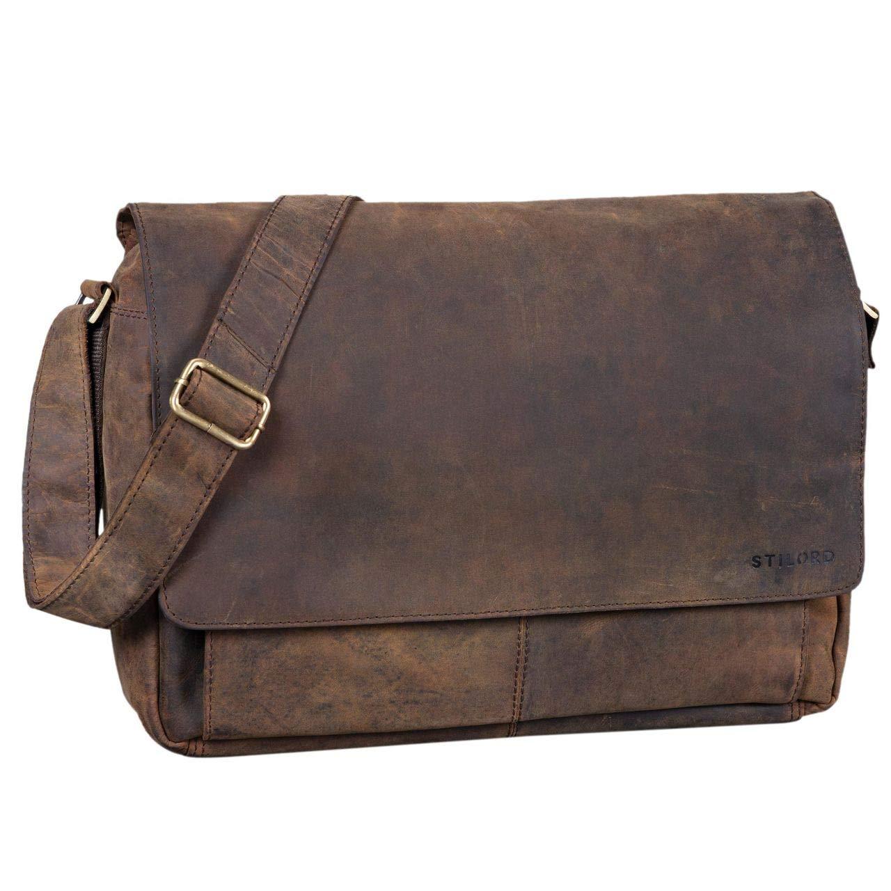 STILORD 'Lonzo' Vintage Umhängetasche echtes Büffel-Leder Messenger Bag für Herren und Damen Unitasche Büro Business Studium Leder, Farbe:antik - braun