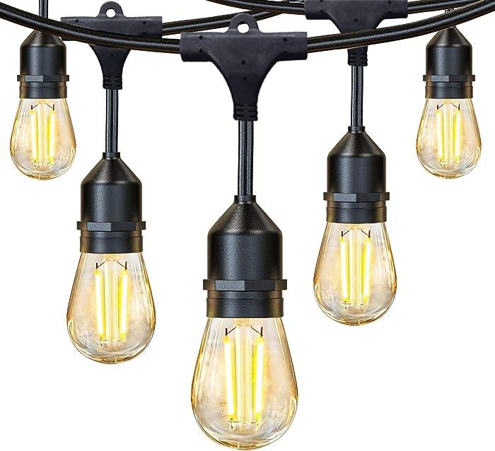 JUSLIT 48Ft LED Outdoor String Lights, 2W Edison Vintage Upgraded Glass Bulbs, 15 Hanging Sockets, UL Listed Waterproof Lighting for Café Garden Yard Bistro Pergola Wedding Party, Amber Warm