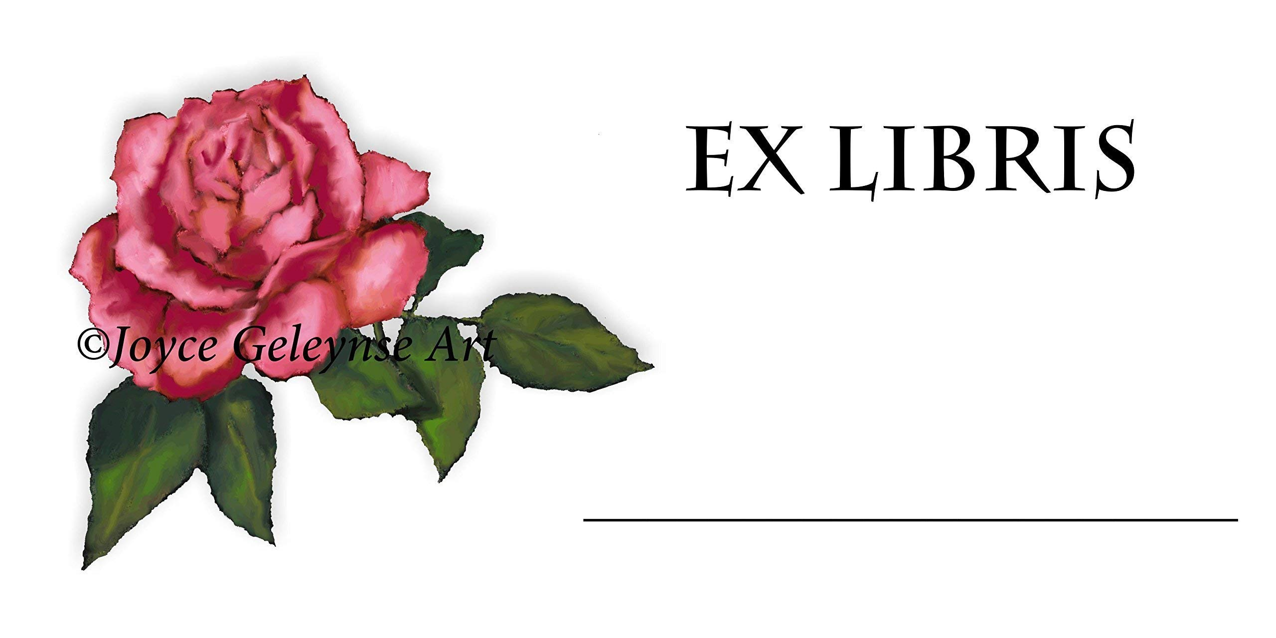 Book Stickers, Bookplate, Your Name,''EX LIBRIS'', Pink Rose Art, Library by Joyce's Art Magnets