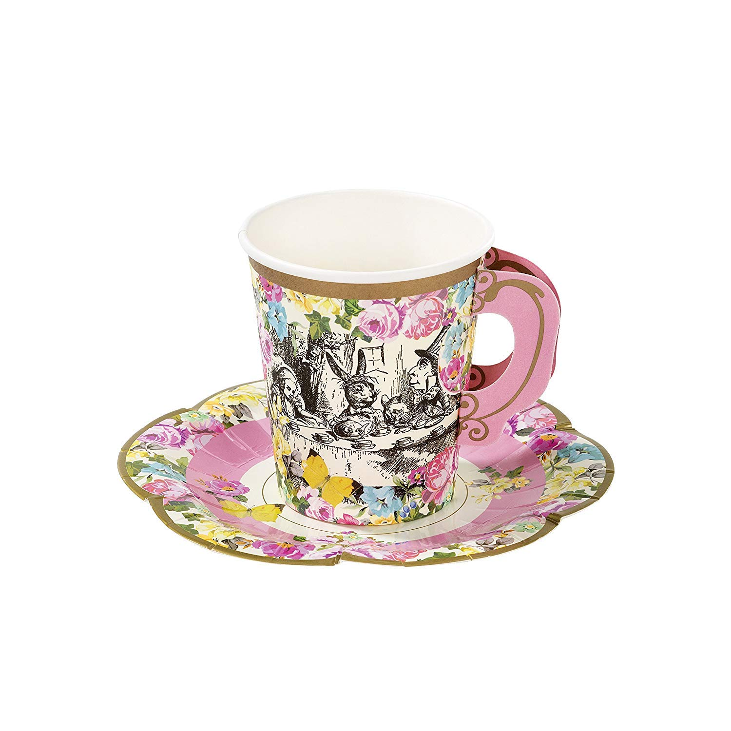 Talking Tables Alice In Wonderland Party Supplies | Tea Cups And Saucer Sets | Great For Mad Hatter Tea Party, Birthday Party And Baby Shower | Paper, 12 Pack