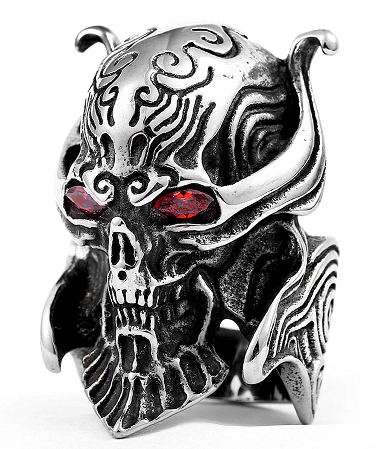 LILILEO Jewelry Stainless Steel Ring Silver Tone Black Devil Red Stone Eyes Skull Engraved Casted For Men's Rings