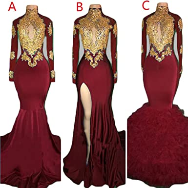 2caf996554 Womens High Neck Gold Applique Mermaid Prom Dresses Long Sleeve Lace Slit  Backless Formal Evening Ball