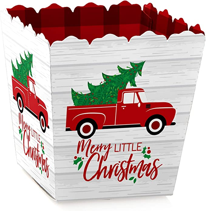 or cupcake picks New Cute Xmas bake Red Truck with Christmas tree Baking accessories little gifttreat bags cupcake linerstreat nut cups