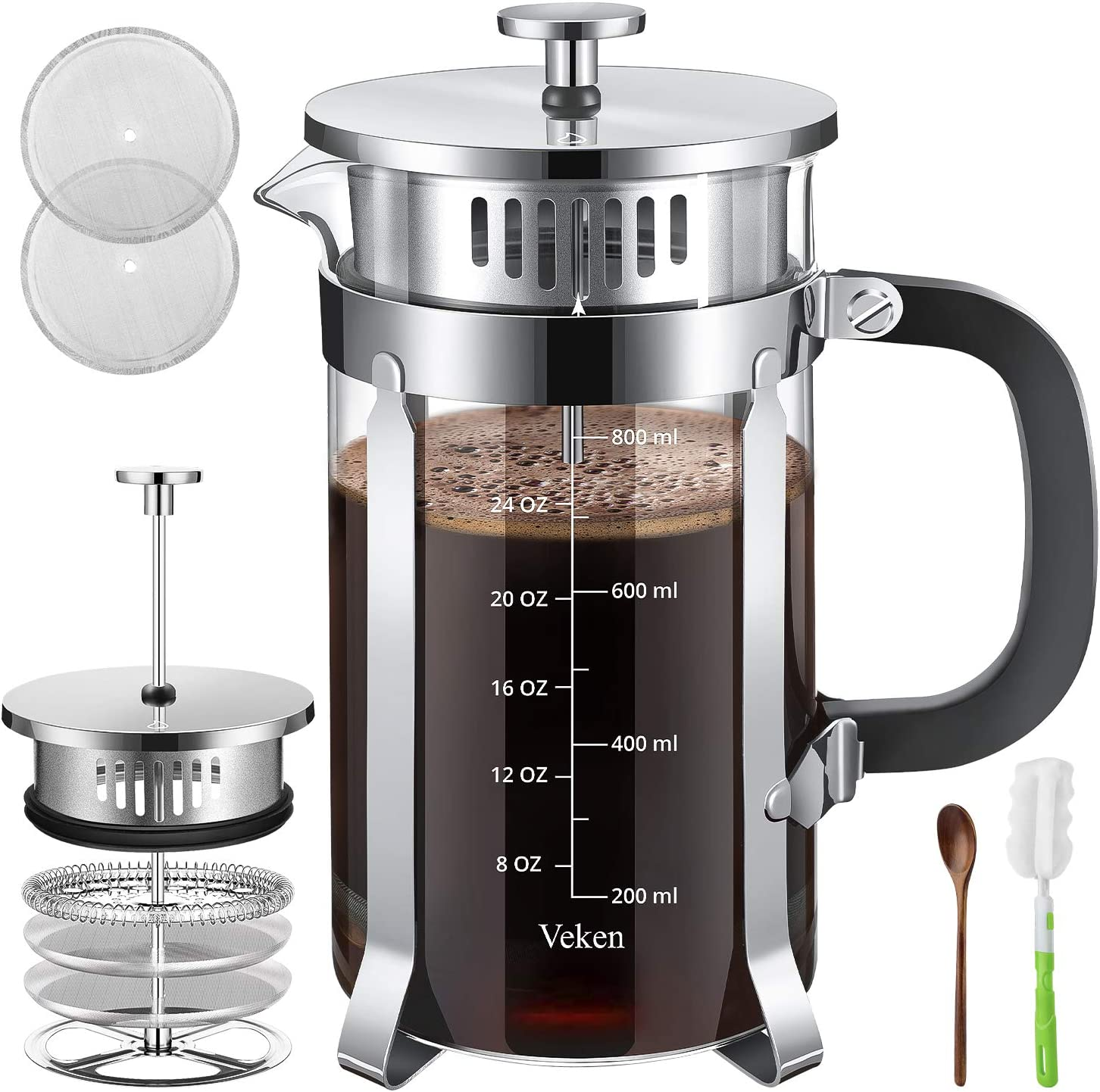 Veken French Press Coffer Tea Maker 34 oz , 304 Stainless Steel Coffee Press with 4 Level Filtration System, Thickened Heat Resistant Borosilicate Glass, Silver
