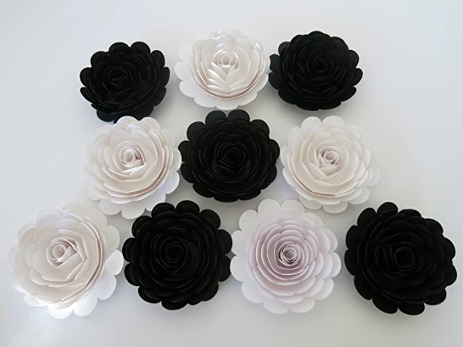 Amazon classic black and white wedding roses 10 large paper classic black and white wedding roses 10 large paper flowers 3quot blossoms mightylinksfo Gallery