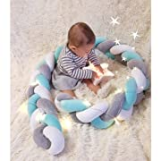 Infant Soft Pad Braided Crib Bumper Knot Pillow Cushion Cradle Decor for Baby Girl and Boy (White-Blue-Grey, 79 )