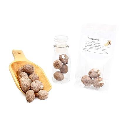 Muskatnuss Ganz Muskatnusse Muskat Gewurz Sri Lanka Premium Gewurze Naturbelassen Suppengewurz Backgewurz Naturgewurz Nutmeg Glutenfrei 20g Amazon De Lebensmittel Getranke