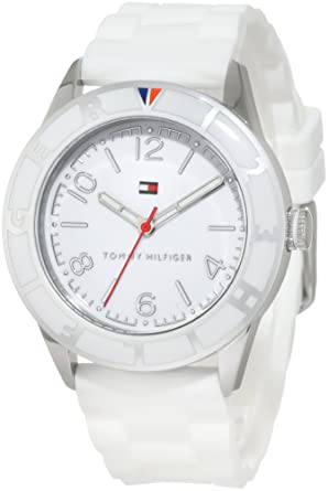4ca55205 Amazon.com: Tommy Hilfiger Women's 1781184 Sport Stainless Steel and White  Silicon Strap Watch: Tommy Hilfiger: Watches