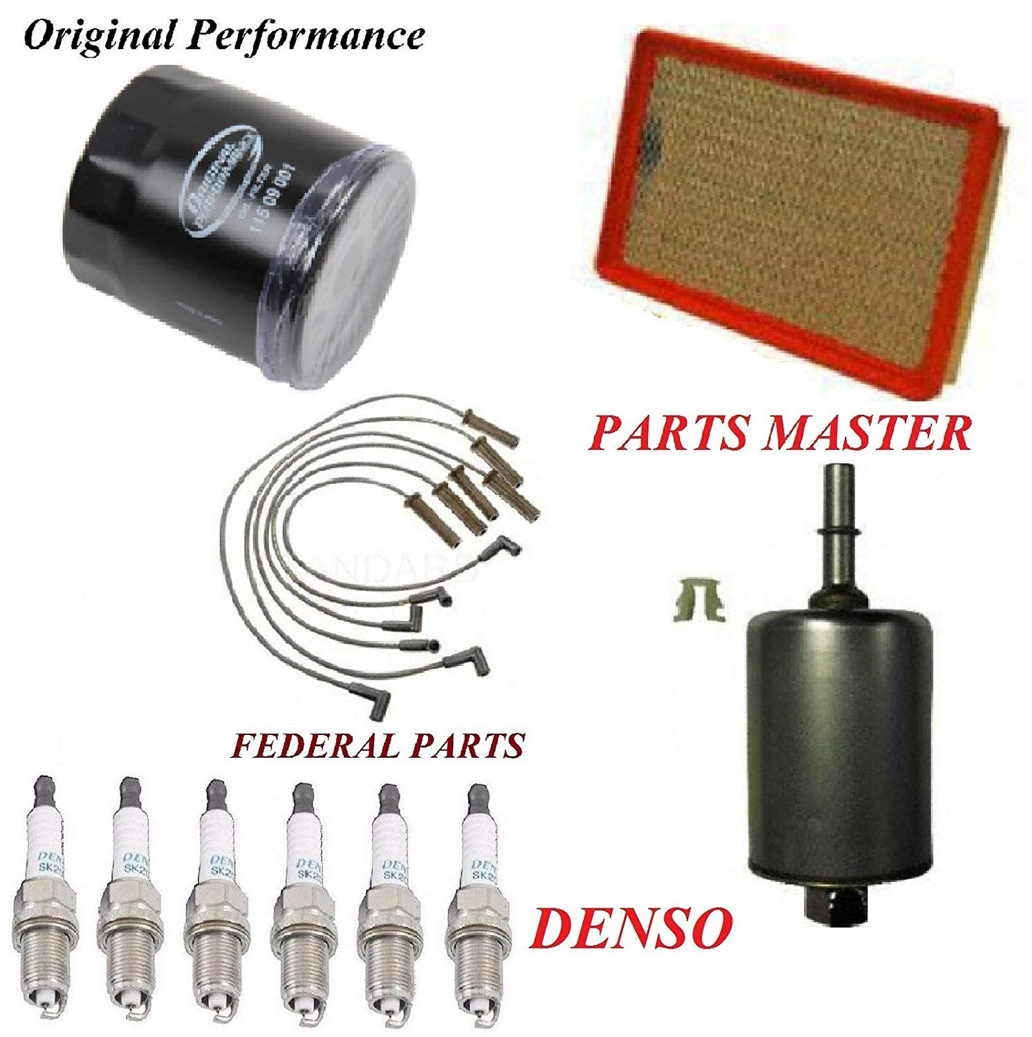 Tune Up Kit Air Oil Fuel Filters Wire Spark Plug FIT PONTIAC GRAND AM V6; 3.4L 2004-2005