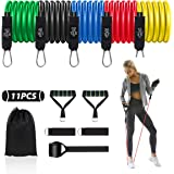 Resistance Bands Set, 11 Pack Expander Tube Exercise Bands for Women/Men Home Gym Equipment Fitness Band up to 150 LBS with F