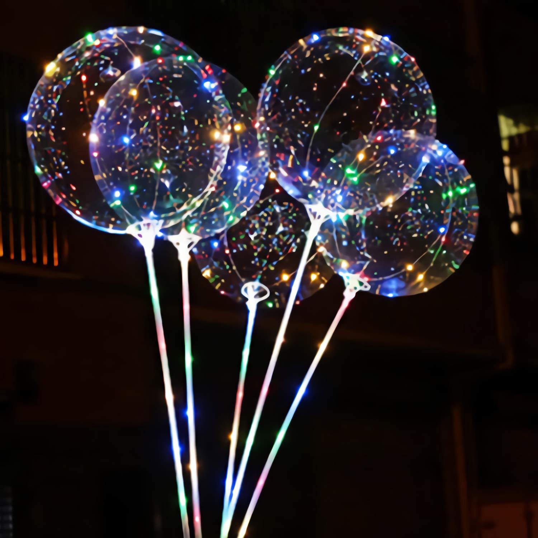6 Pezzi Palloncino con LED Colorata Lampeggiante Luce Stringa per Festa Compleanni Matrimoni Natale Decorazioni Vacanze e Cerimonia Celebrazione PTHTECHUS Palloncini LED Bobo Palloncino Trasparente