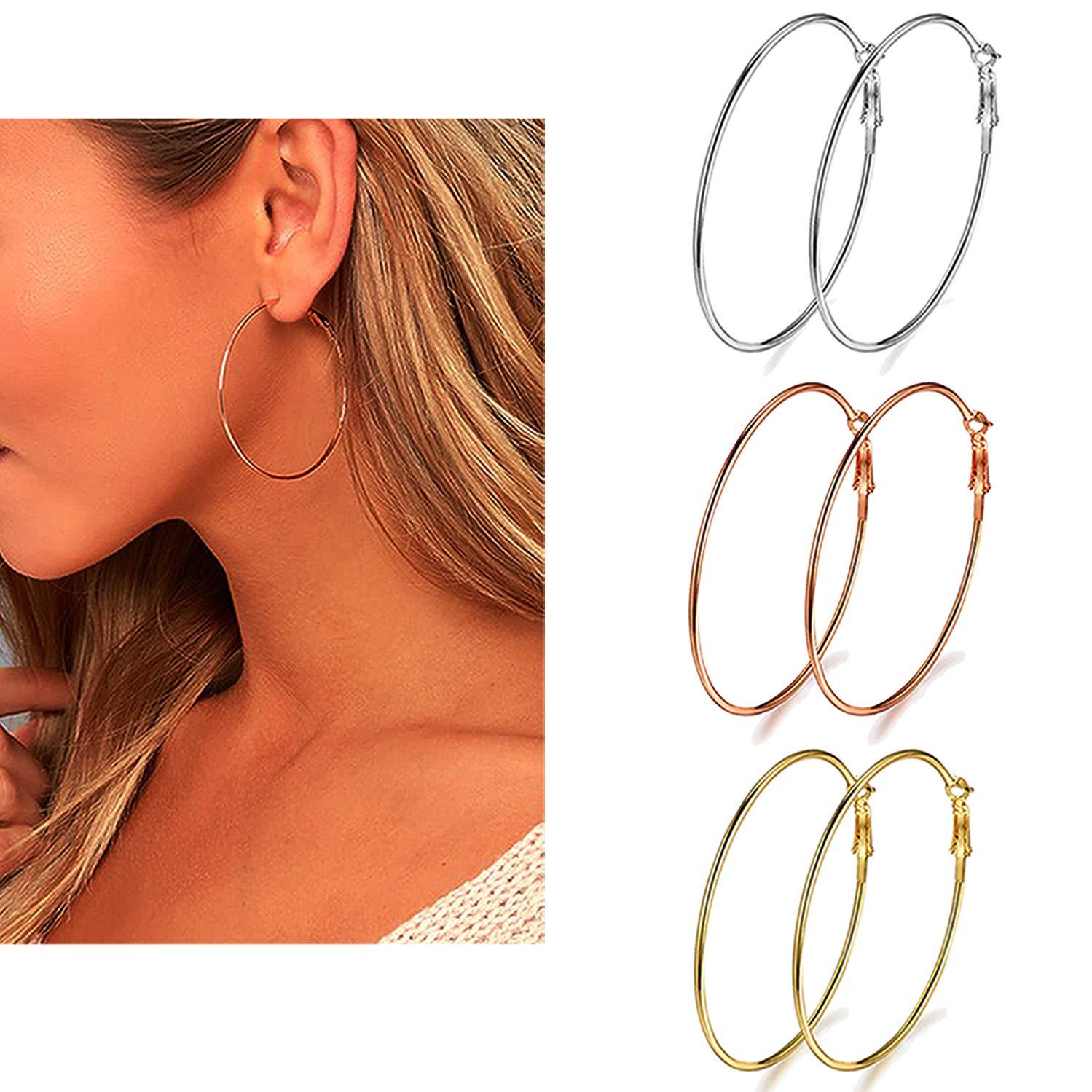 2e6bb9b6c455b 3 Pairs Big Hoop Earrings, Stainless Steel Hoop Earrings in Gold Plated  Rose Gold Plated Silver for Women Girls