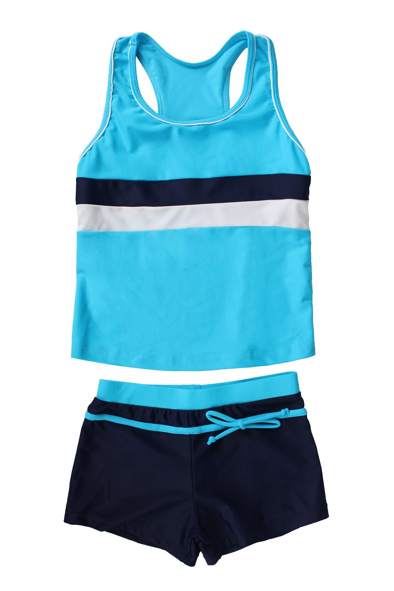 JerrisApparel Little Girls' Summer Two Piece Boyshort Tankini Kids Swimsuit (6-7/Tag Size XL, Blue)