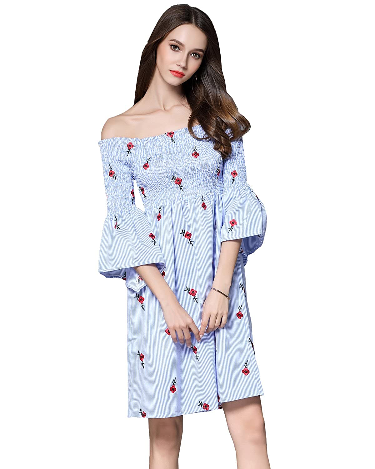 31eb6955151f Cute Dress Loose Fit Style. Suitable for Spring, Summer Autumn, Beach, Party,  Casual Daily Wear etc. Embroidery Short Mini Dress, Knee Length, ...