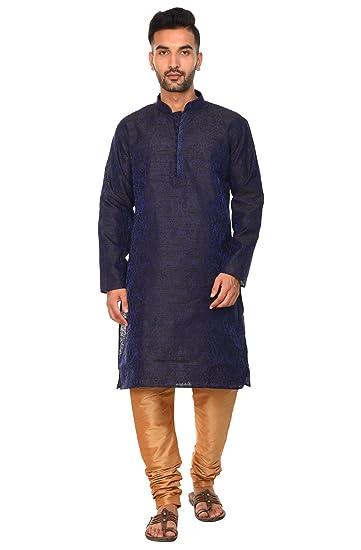 Amazon Com Men S Indian Kurta Pajama Set Long Sleeve Dupion Art
