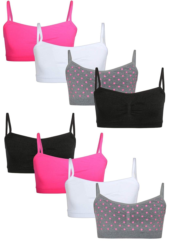 8 Pack Sweet Princess Girls Nylon//Spandex Seamless Training Bra