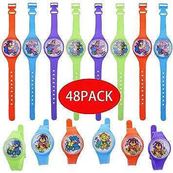 Gudotra 48pcs Juguetes Reloj Pulseras Colorido Detalles Regalos de Cumpleaños Navidad para Ninos Juguetes Infantiles