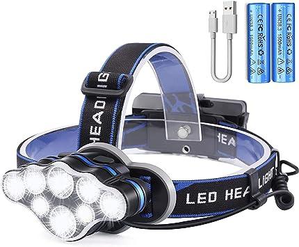 Lampada Frontale LED,USB Ricaricabile Lampade da Testa LED Torcia Frontale con