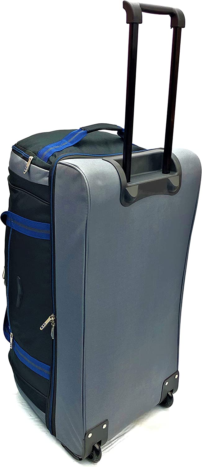 Large 28 Rolling Drop Bottom Duffel Hard Wearing Super Lightweight Travel Sports Weekend Business Big Carry Cargo Holdall Luggage Travel Bags Suitcases Bag 2 Wheels 28 Large, Black//Blue