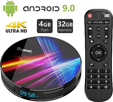 Android 9.0 TV Box 4GB RAM 32GB ROM, Bqeel R1 Pro Android TV Box RK3318 Quad-Core 64bits Dual-WiFi 2.4G/5.0G, 3D Ultra HD 4K H.265 USB 3.0 BT 4.0 Smart TV Box: Amazon.es:
