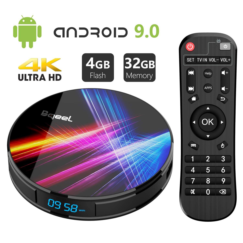 Android 9.0 TV Box 4GB RAM 32GB ROM, Bqeel R1 Pro Android TV Box RK3318 Quad-Core 64bits Dual-WiFi 2.4G/5.0G,3D Ultra HD HDMI 2.0 4K H.265 USB 3.0 BT 4.0 Smart TV Box by Bqeel