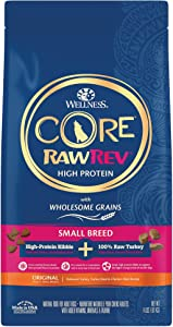 Wellness CORE RawRev Wholesome Grains Small Breed Dry Dog Food, Freeze Dried Meat & Kibble, Turkey