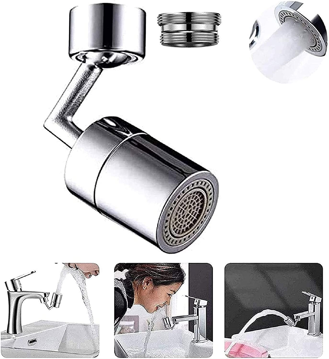 22-24mm Tap Interface 1 Psc Universal Splash Filter Faucet 720 Degree Rotatable Faucet Sprayer Head 4-Layer Filter Oxygen-Enriched Foam Leakproof Faucet for Kitchen Bathroom Toilet