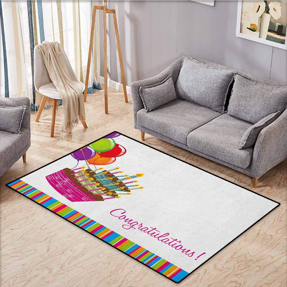 Large Door mat,Birthday,Pink Written Congratulations Graphic Cake Candles Balloons Birthday Art Print,Ideal Gift for Children,3'11''x5'10'' Multicolor