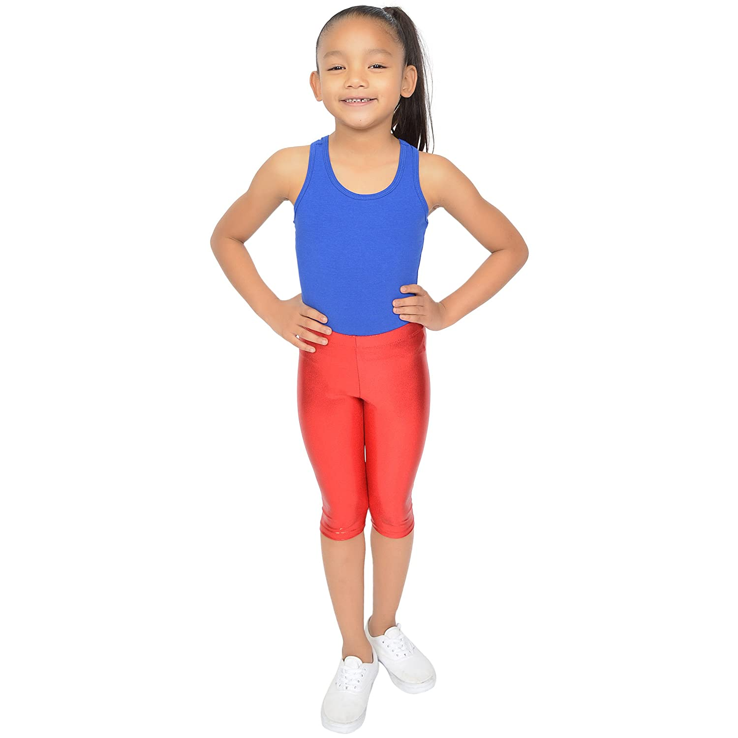 b846f2b2a Amazon.com: Stretch is Comfort Girl's Metallic Mystique Capri Leggings:  Clothing