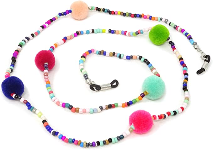 Honbay 2PCS Colorful Beaded Eyeglass Chain Sunglass Holder Glasses Strap Lanyards for Women and Girls