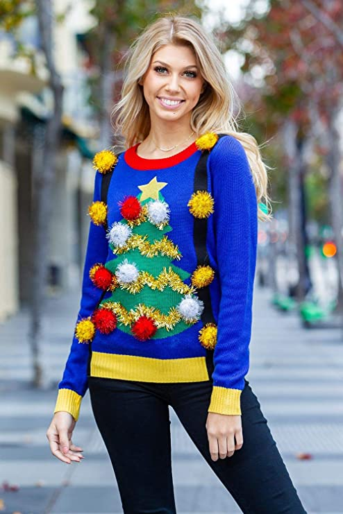 Tipsy Elves Women's Tacky Christmas Sweater-Christmas Tree Sweater Best Ugly Christmas Sweaters Ever