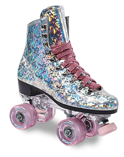 Roller Skates Amazon Com >> Sure Grip Prism Sparkling Unisex Roller Skates Indoor Outdoor Skates With Vegan Silver Reflective Boot Made In Usa