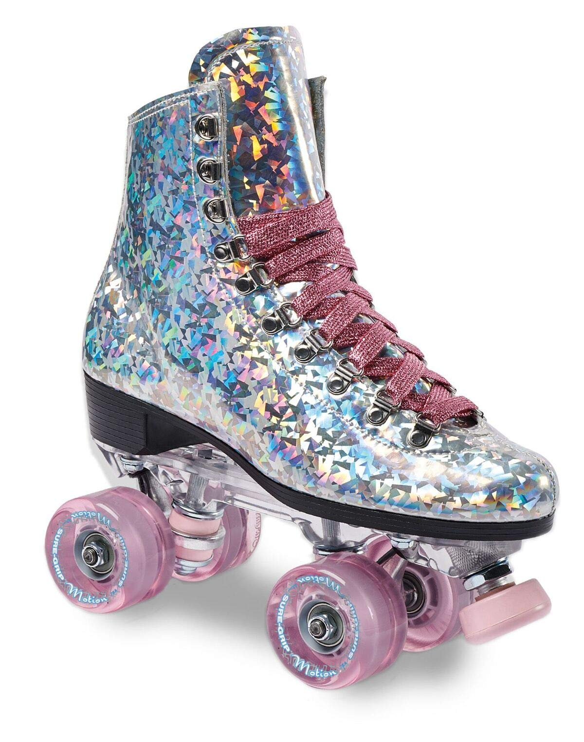 Sure-Grip Prism Roller Skates (Pink Confetti, Mens 7 / Womens 8-8.5)