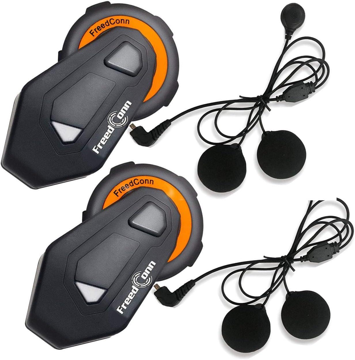 Voice Prompt GPS Motorcycle Helmet Intercom Communication Systems Bluetooth 4.1 Headsets 1 Pack IPX65 Waterproof Full Duplex 6 Riders Group Helmet Intercom Stereo Music FM Radio Range 1000m