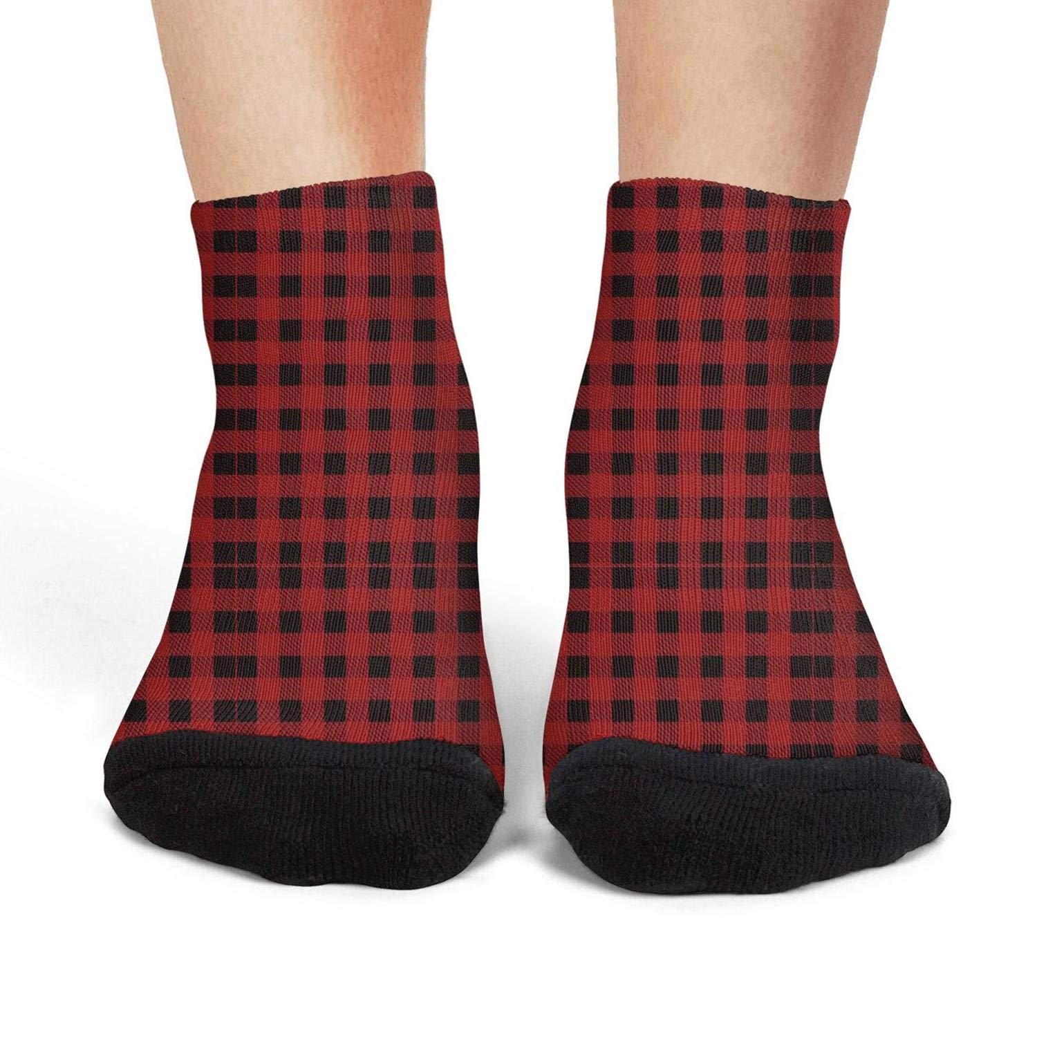 Mens athletic low cut Ankle sock red Checkered lattice panels simple patterns Non-Slip Fit Short Sock