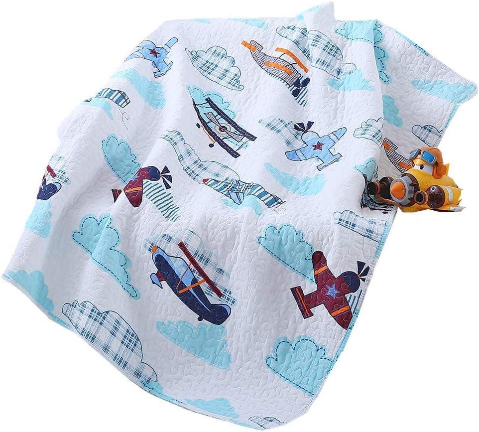 Boruiann Couvre-lit en patchwork pour enfant Motif h/élicopt/ère et avion 109,2 x 129,5 cm