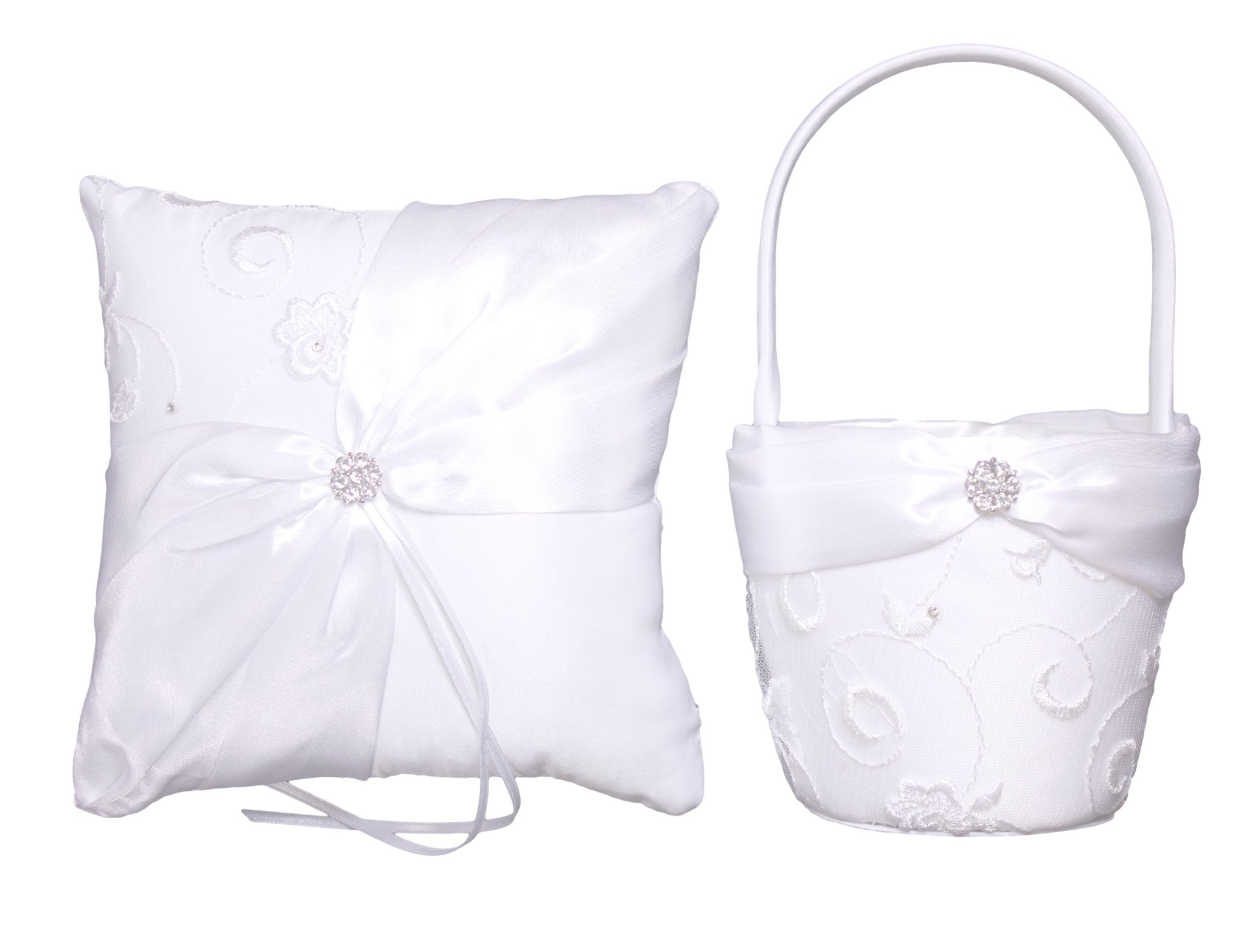 Bundle of Lillian Rose Ring Bearer Pillow and Flower Girl Basket (Satin and Lace)