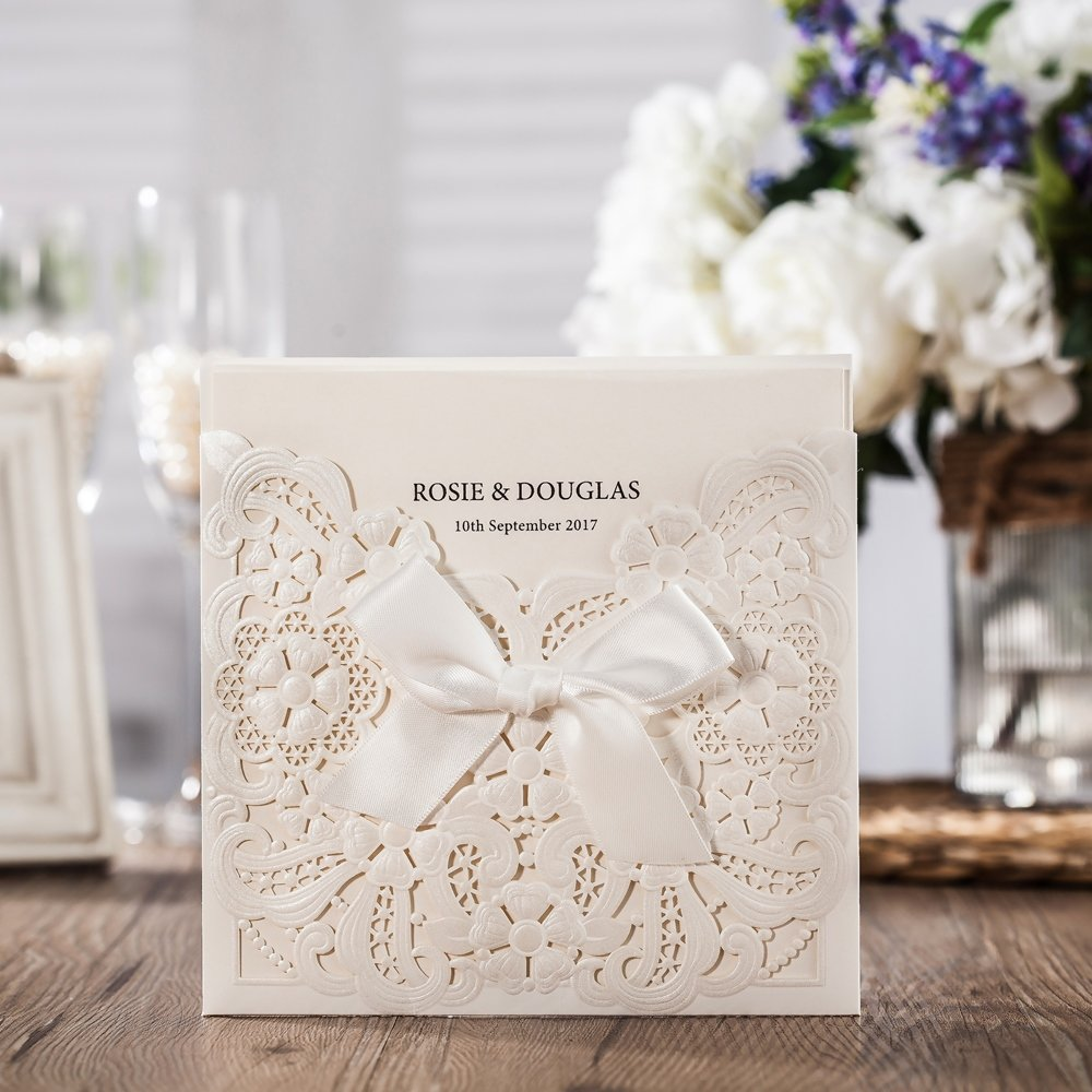 Wishmade 100x White Laser Cut & Embossed Invitations Kit With Ribbon Matched With RSVP & Thank You Card For Wedding Party Birthday Occasion CW6112 by Wishmade