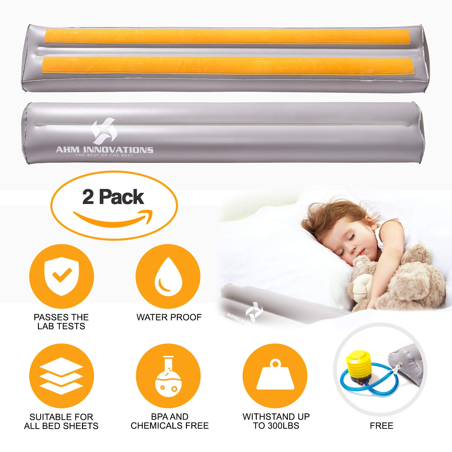 ⭐️⭐️⭐️⭐️⭐️Portable Toddler Bed Rail with Air Pump, Pack of 2 - Kids Inflatable Mattress Safety Guard with Water-Resistant Cover - Non-Slip Grip Safety Side Pillow Rail - Leak Proof & Fits All Sizes