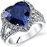 6.50 Carats Heart Shape Created Blue Sapphire Ring Sterling Silver Sizes 5 to 9