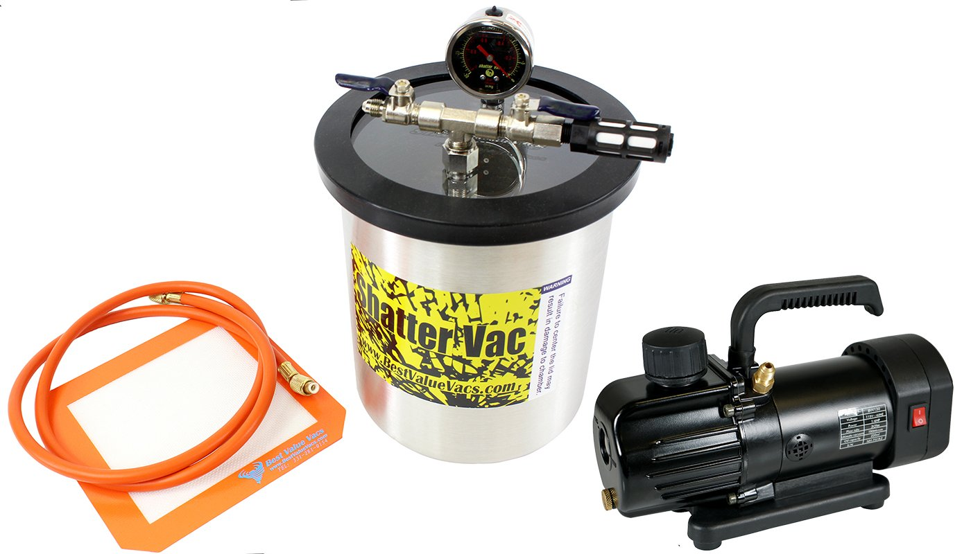 1.5 Gallon Tall Stainless Steel SVac Vacuum Degassing Chamber and Mini 3CFM Single Stage Vacuum Pump Kit by BEST VALUE VACS (Image #1)
