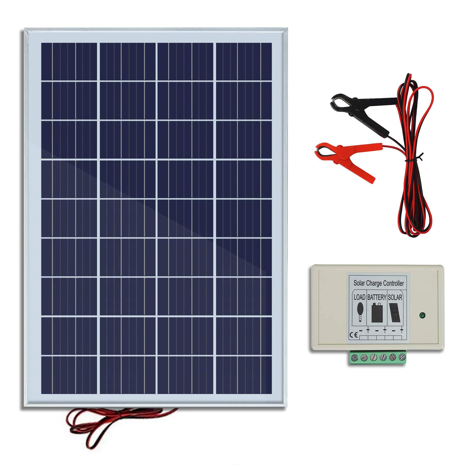ECO-WORTHY 20W 12V Solar Panel Kit: 20 Watt Polycrystalline Solar Panel & Battery Clips & 3A Charge Controller for Battery Charging product image