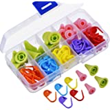 eBoot 60 Pieces Knitting Crochet Locking Stitch Markers Mix Color and 20 Pieces 2 Sizes Knitting Needles Point Protectors/ Stoppers