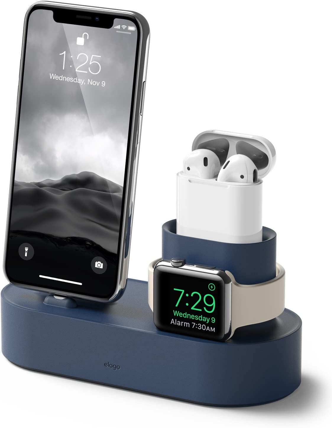 elago 3 in 1 Apple Charging Station Compatible with Apple Watch Series 6/SE/5/4/3/2/1, Apple AirPods 2/1, iPhone 11 and All iPhone Models [Original Cables Required] (Jean Indigo)