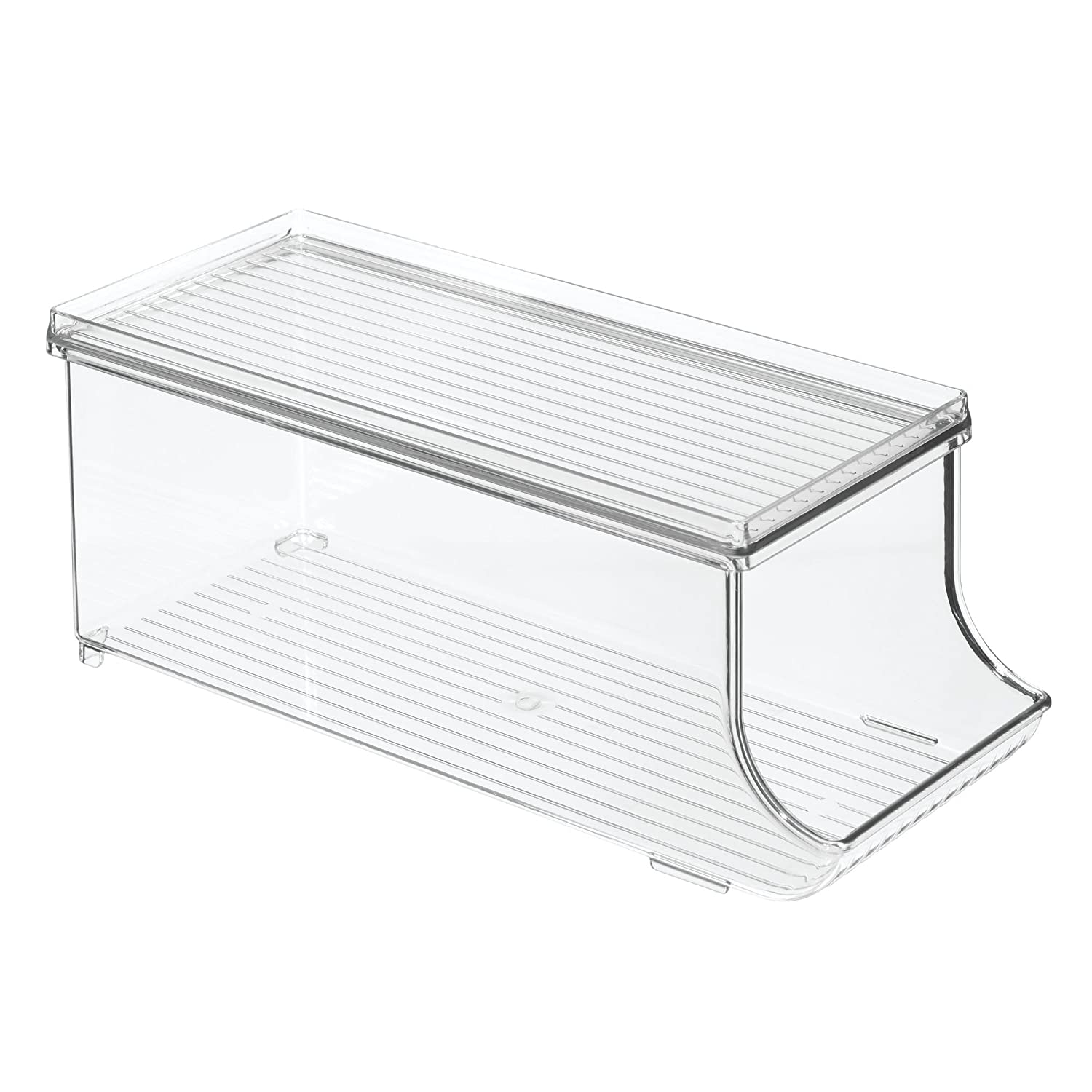 InterDesign Fridge/Freeze Binz Storage Boxes, Kitchen Storage Container with Space for 9 Drinks Cans, Plastic Clear 70938