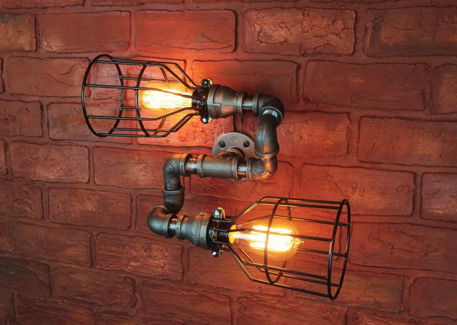 pretty nice 948d2 5e0a6 Amazon.com: Wall Sconce Industrial Lighting w/Cages, Black ...