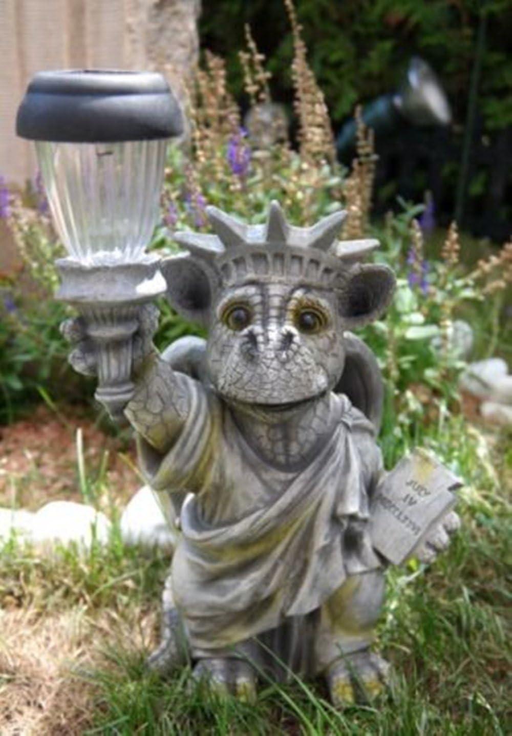 SSITG kremers-schatzkiste – Estatua de la Libertad con Solar Farol Dragón Figura Jardín Figura: Amazon.es: Jardín