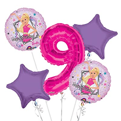BarbieSparkle Happy Birthday Balloon Bouquet 5 pc, 9th Birthday, | Viva Party Balloon Collection: Health & Personal Care